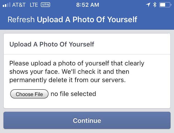 Facebook Verification Photo Utilisateur