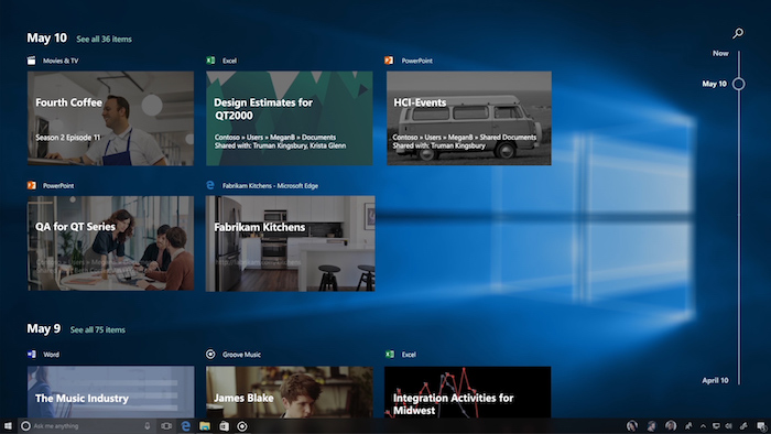 Windows 10 Fonctionnalite Timeline