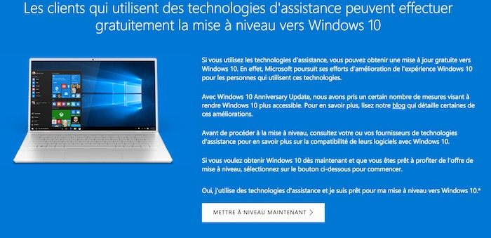 Windows 10 Mise A Niveau Gratuite Acessibilite