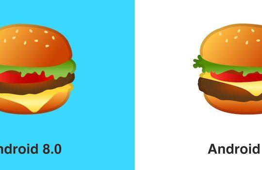 Emoji Hamburger Android 8.0 vs Android 8.1