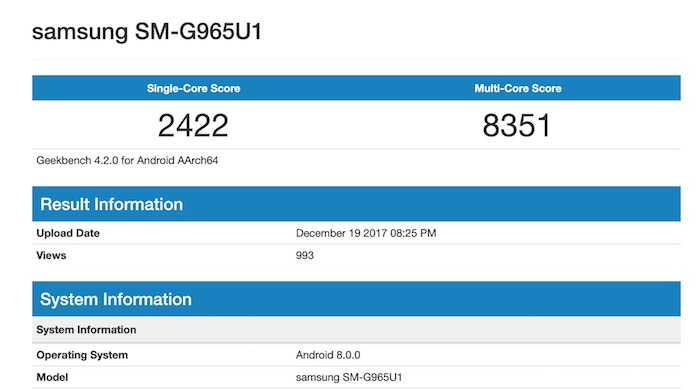 Geekbench Fuite Galaxy S9 Plus