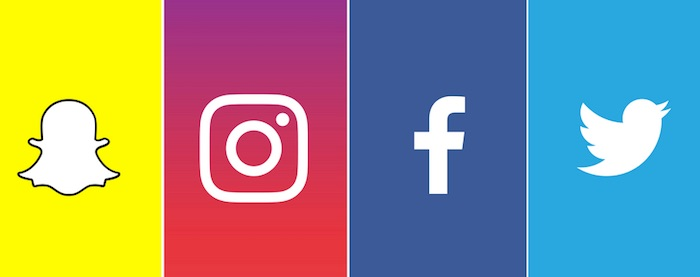Snapchat Instagram Facebook Twitter Logos
