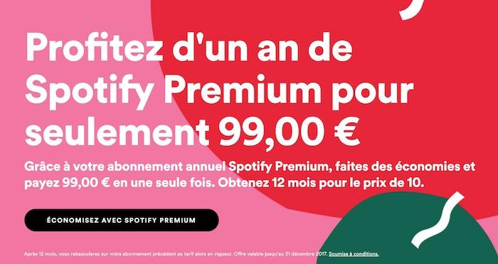 Spotify Premium Abonnement 1 An Promo Decembre 2017