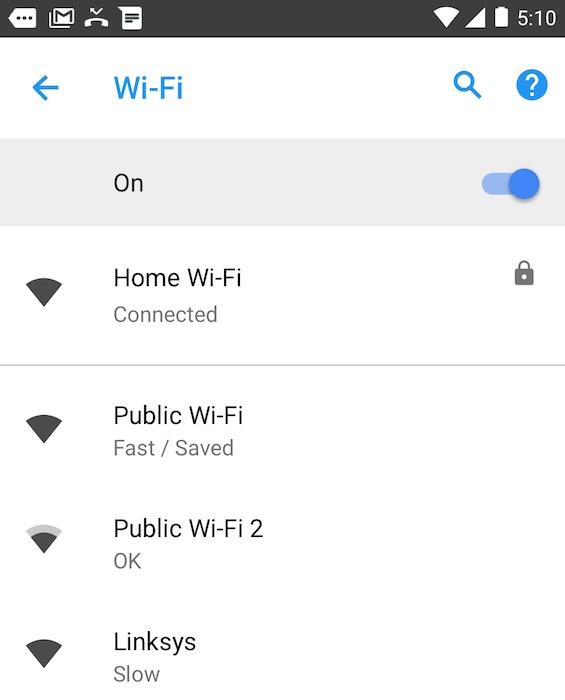 Android Oreo Vitesse Reseau WiFi Public
