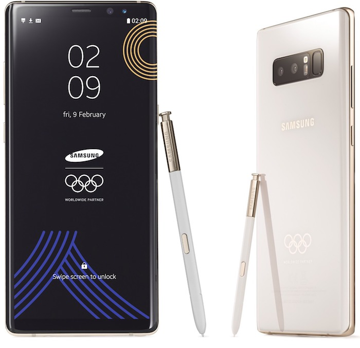 Galaxy Note 8 Edition Speciale Jeux Olympiques Hiver 2018 Avant Arriere