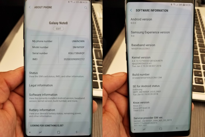Galaxy Note 8 Fuite Android Oreo