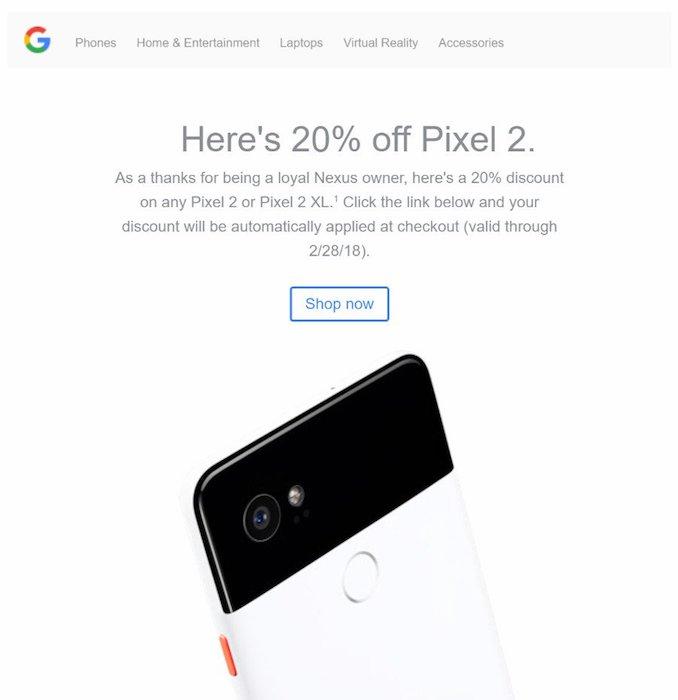 Google Reduction 20 Pour Cent Achat Pixel 2
