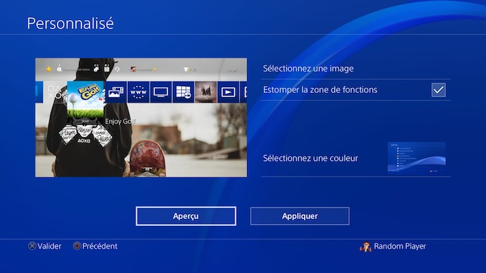 PlayStation 4 MAJ 5.50 Fond Ecran Personnalise