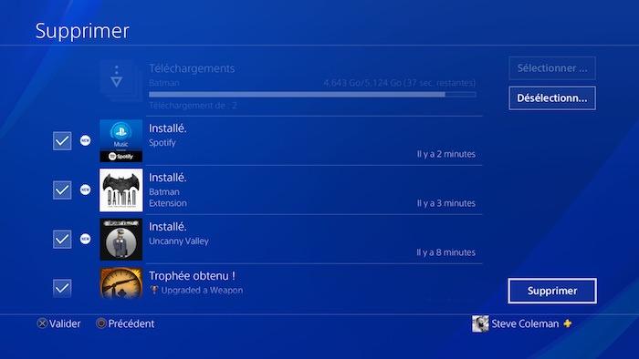 PlayStation 4 MAJ 5.50 Suppression Notifications