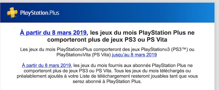 PlayStation Plus Abandon Jeux PS3 PS Vita