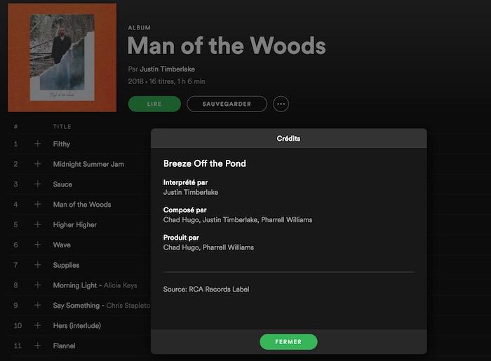 Spotify Credits Chansons