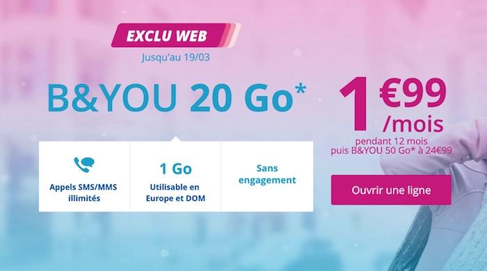 Bouygues Promo Forfait 1.99 Euro Mars 2018