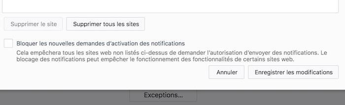 Firefox 59 Bloquer Notification