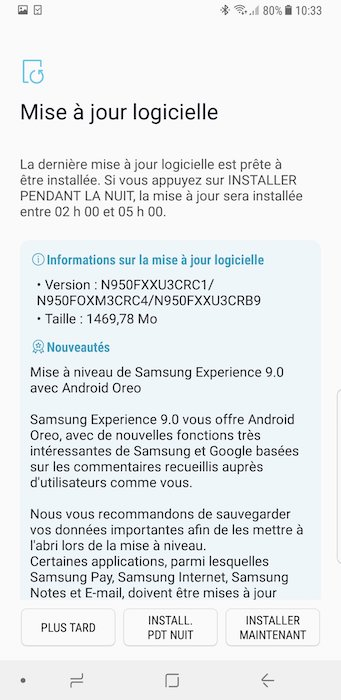 Galaxy Note 8 Android Oreo Disponible