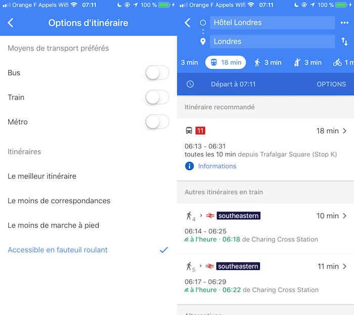 Google Maps Itineraires Fauteuil Roulant