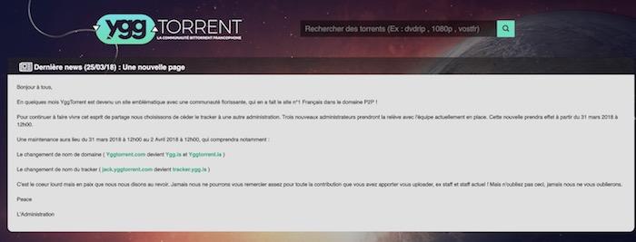YggTorrent Changement Equipe