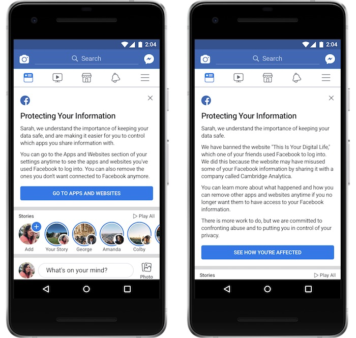 Facebook Alerte Utilisateurs Cambridge Analytica