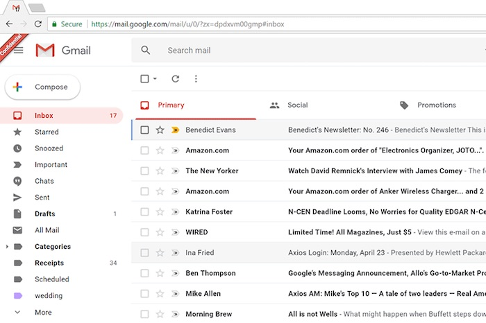 Nouveau Gmail Interface Avril 2018