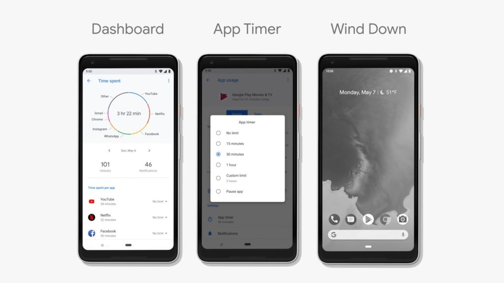 Android P Tableau De Bord Timer Wind Down 1024x576