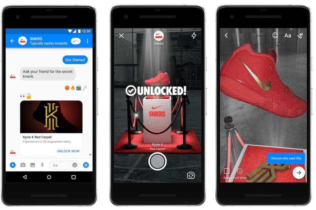 Facebook Messenger Realite Augmentee Nike 1024x682