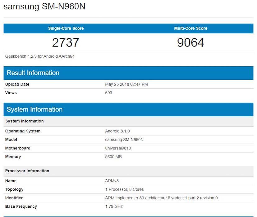 Fuite Galaxy Note 9 Benchmark