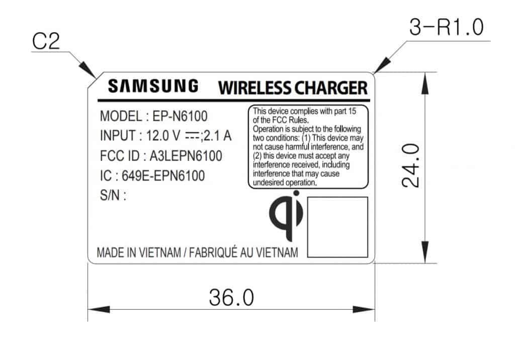 FCC Chargeur Sans Fil Samsung 12V 2.1A 1024x678