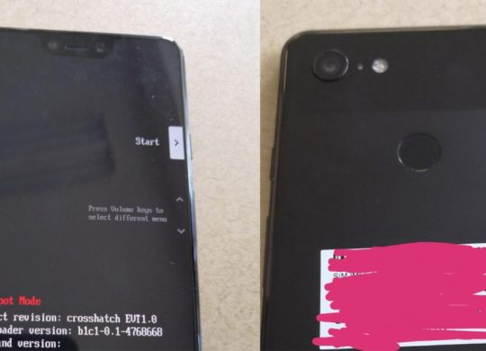 Prototype Google Pixel 3 XL Recadre