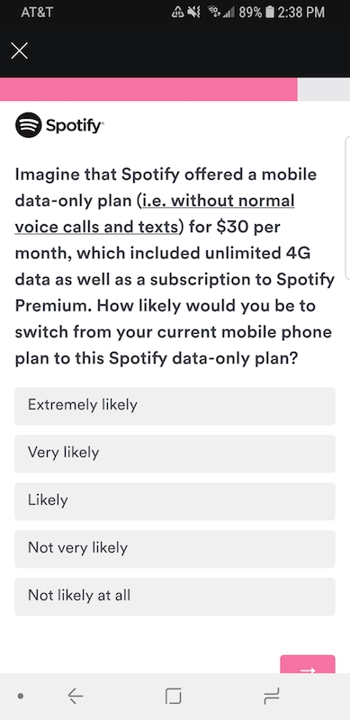 Sondage Spotify Forfait