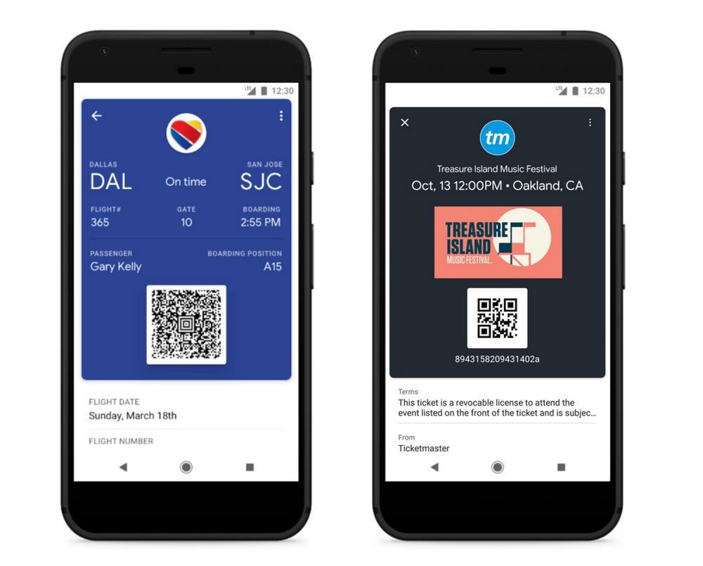 Google Pay Carte Embarquement Ticket Concert