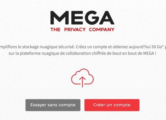 Mega.nz Page Accueil