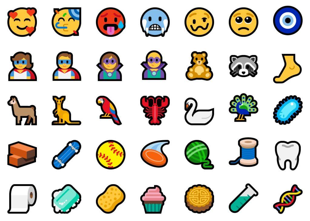 Nouveaux Emojis Windows 10 Unicode 11 1024x731