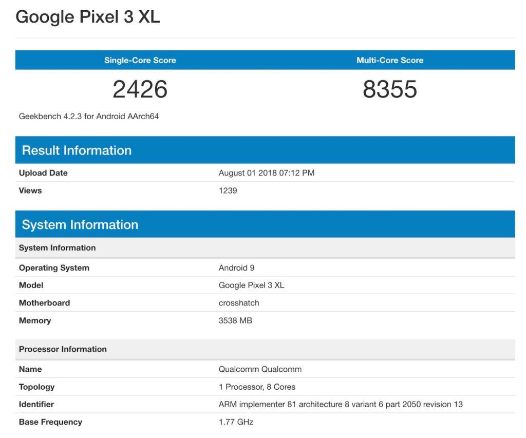 Fuite Benchmark Pixel 3 XL 1024x853