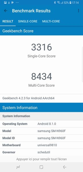 Note 9 GeekBench 4
