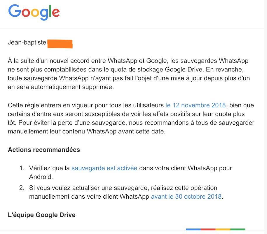 WhatsApp Stockage Illimite Google Drive