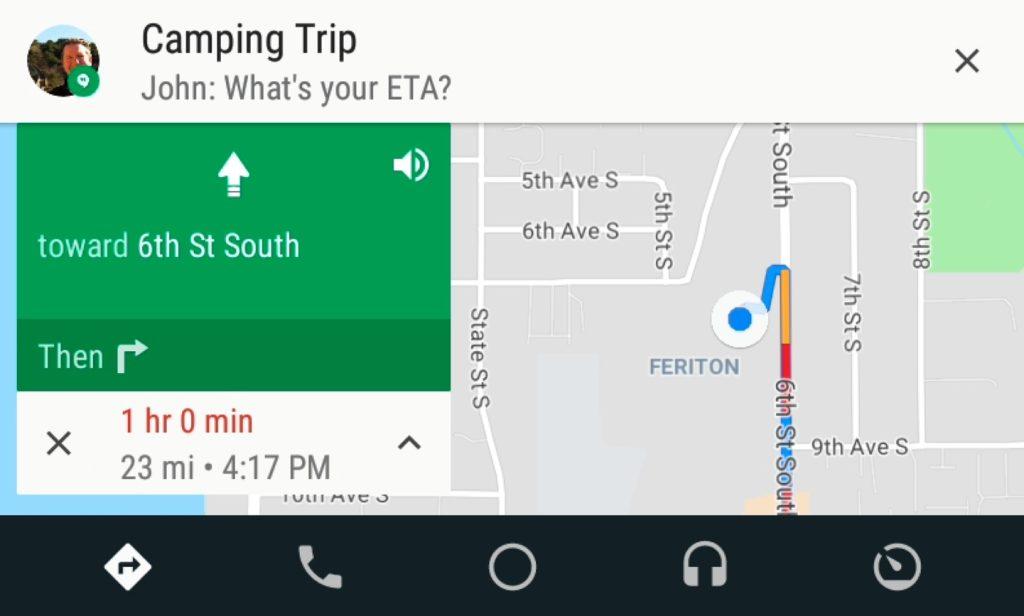 Android Auto SMS Par Dessus Application 1024x616