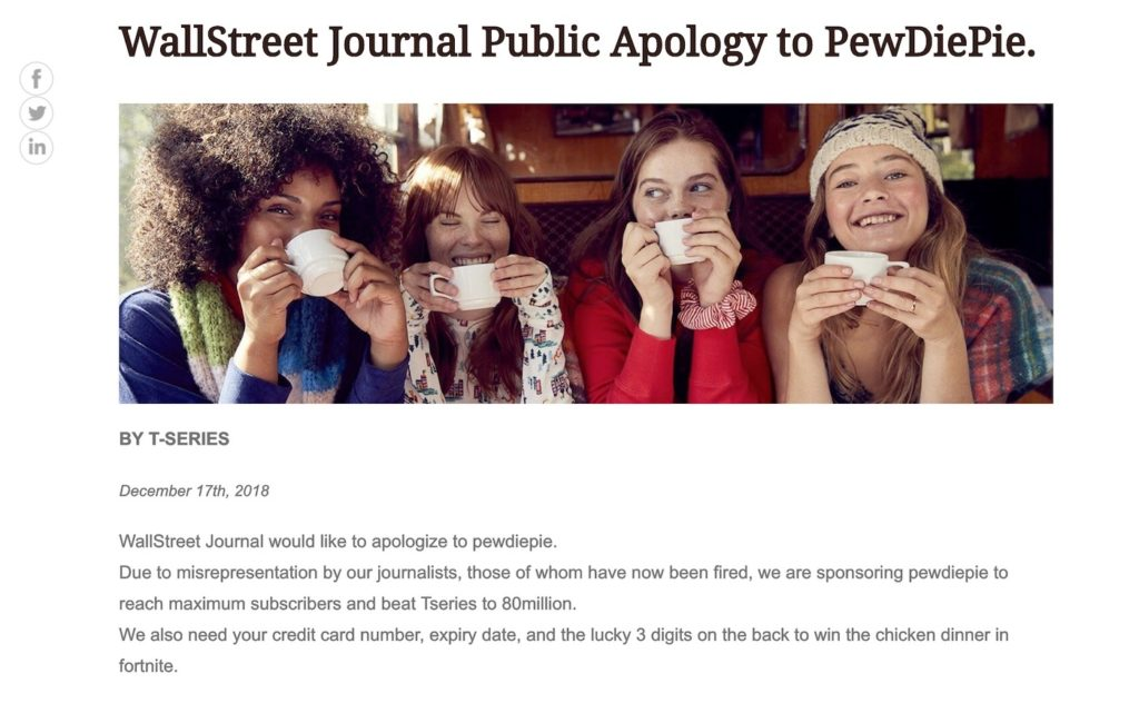 Wall Street Journal Pirate PewDiePie 1024x641