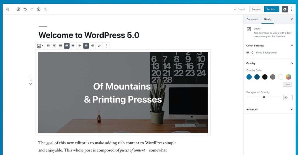 WordPress 5.0 Editeur Gutenberg 1024x532