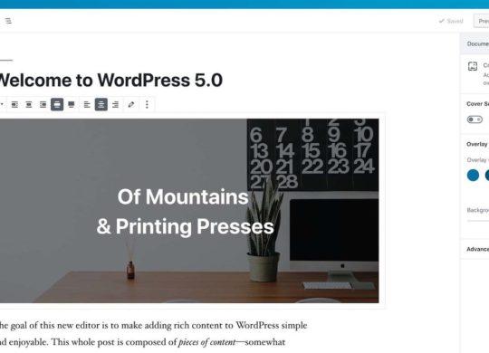 WordPress 5.0 Editeur Gutenberg
