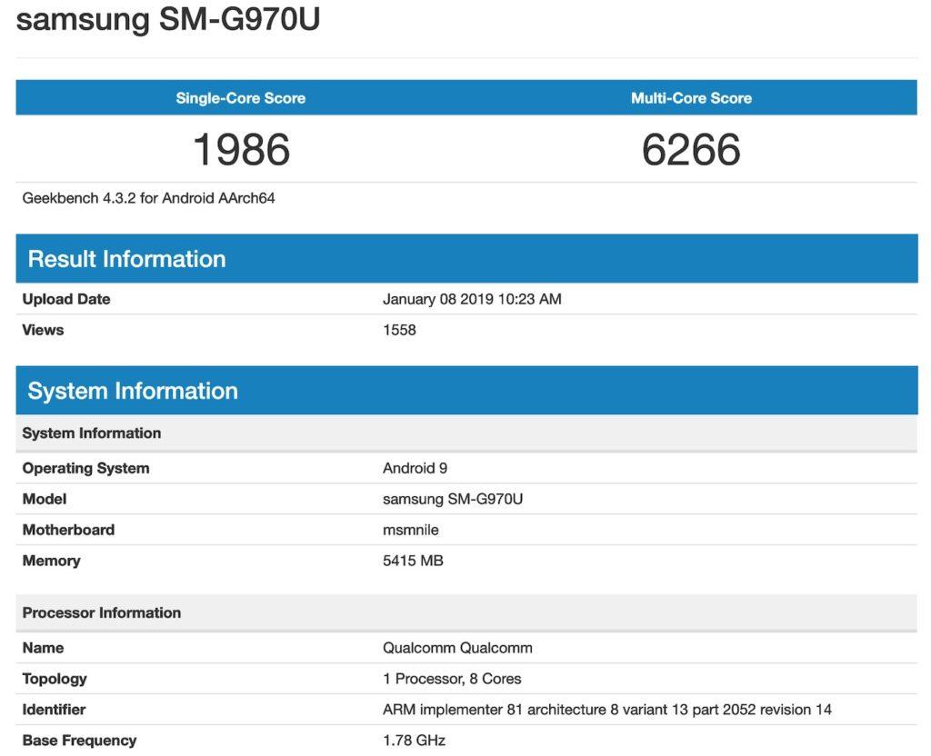 Fuite Galaxy S10 Lite Benchmark 1024x832