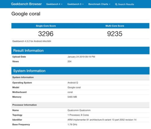 Google Coral Benchmark Android Q 527x450