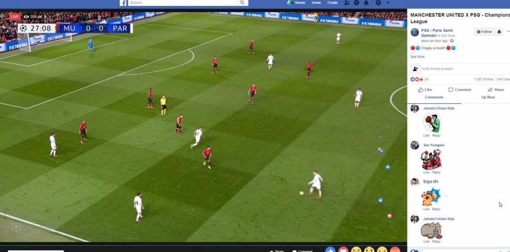 Facebook PSG Manchester Streaming Illegal 1024x507