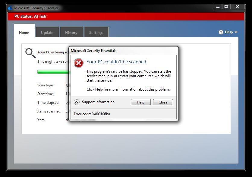 Microsoft Security Essentials Erreur