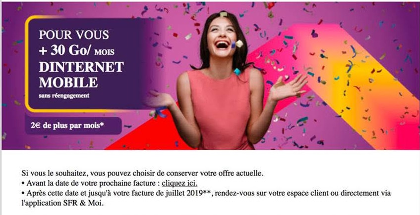 SFR Augmente Go Forfait Mars 2019