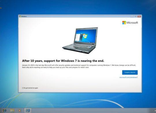 Windows 7 Alerte Abandon Support