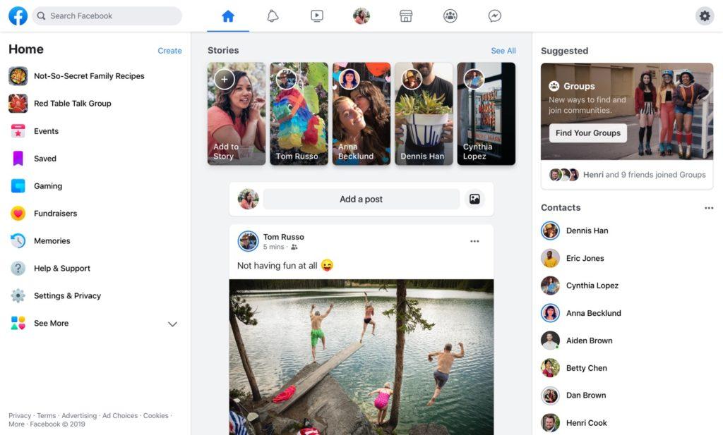 Facebook Web Nouveau Design 2019 1024x617