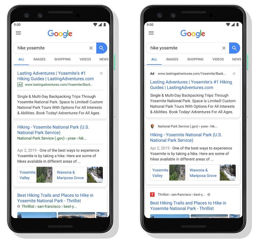 Google Resultats Recherches Favicons