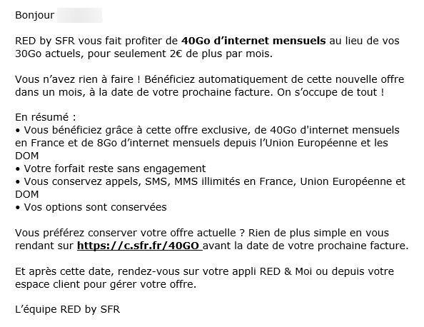 SFR RED Augmente Prix Forfait