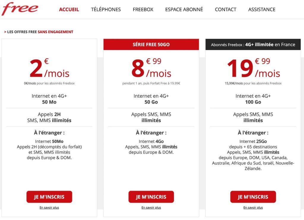 Trois Forfaits Free Mobile 1024x740
