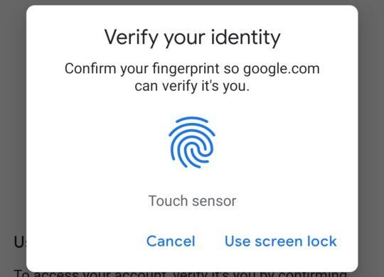 Android Connexion Services Google Empreinte