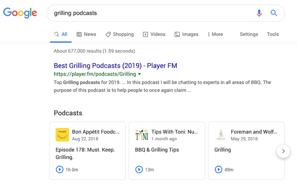 Google Podcasts Resultats Recherche
